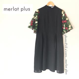 c612c8acf28ce9 メルロー(merlot)のmerlot plus 花刺繍レース袖ワンピース *ブラック(ひざ