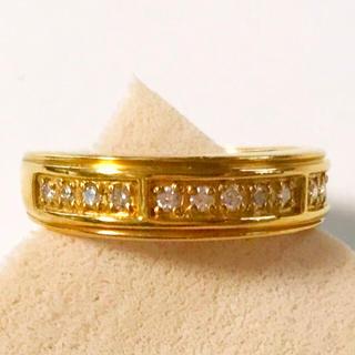K24 純金 指輪 ダイヤ0.2c サイズ16号 中古 リング(リング(指輪))