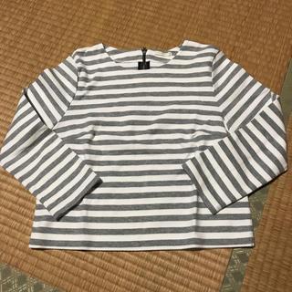 ジーユー(GU)のGU ジーユー ボーダー 白×グレー 七分袖 Tシャツ(Tシャツ(長袖/七分))