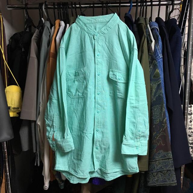 ヴィンテージ古着 ノーカラーシャツ ミントグリーン ユニセックス レディースのトップス(シャツ/ブラウス(長袖/七分))の商品写真