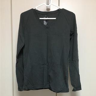 ムジルシリョウヒン(MUJI (無印良品))の*無印良品 ロンT Vネック ダークグレー Mサイズ(Tシャツ(長袖/七分))