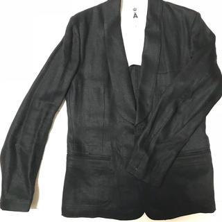 エィス(A)のエィスショールカラーベスト付麻ジャケット黒(テーラードジャケット)