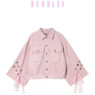 バブルス(Bubbles)のBUBBLES オフショルレースアップGジャン ピンク(Gジャン/デニムジャケット)