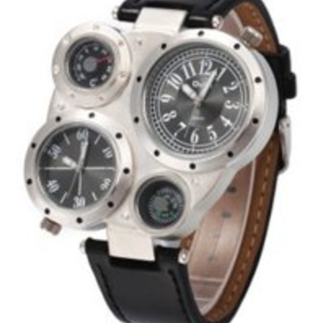 腕時計 電子クォーツ時計 コンパス 温度計 文字盤 ブラック メンズの時計(腕時計(アナログ))の商品写真