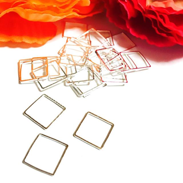 空枠フレームスクエア大シルバー ハンドメイドの素材/材料(各種パーツ)の商品写真