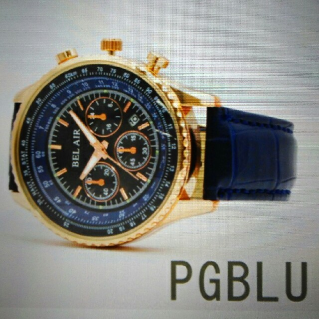 ★ パイロットウォッチ ★ ゴールドブルー ★ メンズの時計(腕時計(アナログ))の商品写真