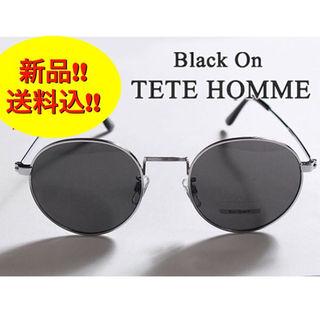 テットオム(TETE HOMME)の【新品】Black on TETE HOMME 丸眼鏡 サングラス 銀フレーム(サングラス/メガネ)