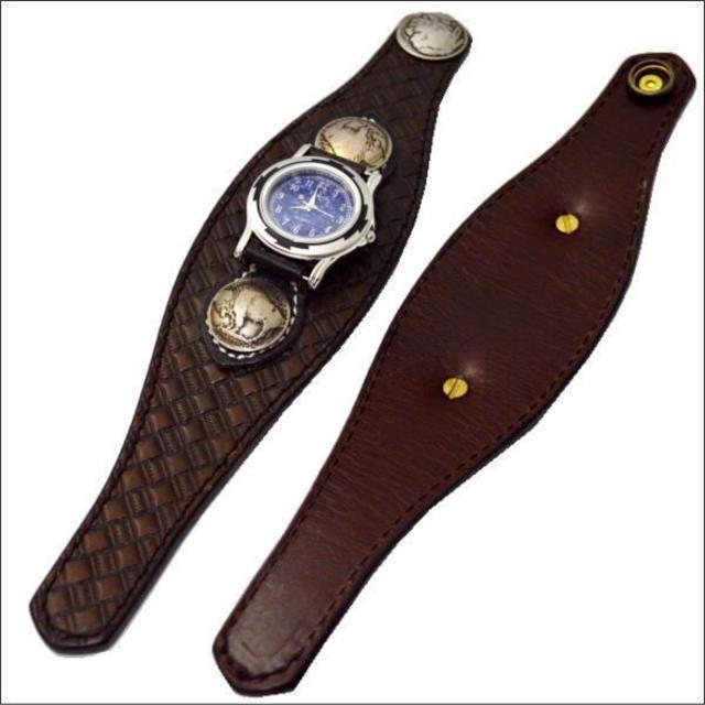 レザー バスケット クラフト腕時計 ダークブラウン 10006665 メンズの時計(腕時計(アナログ))の商品写真