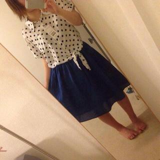 ハニーズ(HONEYS)の新品タグ付き今季紺色膝丈スカート(ひざ丈スカート)