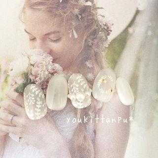 ナチュラルウェディング*ジェル ネイルチップ 結婚式 押し花 白 ブライダル