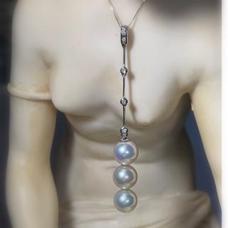 オリジナル(Original)の真珠 パール ペンダント トップ チャーム和珠 三色 ダイヤモンド  K18WG(チャーム)