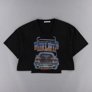 イーハイフンワールドギャラリー(E hyphen world gallery)のイーハイリメイク切替CARTシャツ/ブラックF(Tシャツ(半袖/袖なし))