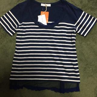 サカイラック(sacai luck)の新品タグ付⭐︎sacai luck 重ね着風ボーダーTシャツ(Tシャツ(半袖/袖なし))