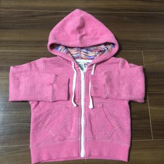ビームス(BEAMS)のかわいいピンクのフード付きパーカー☆人気のビームス☆便利なファスナー90センチ(ジャケット/上着)