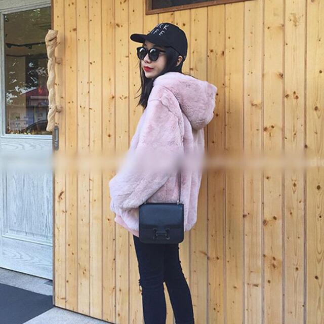 ボア モコモコ パーカー ピンク メンズのトップス(パーカー)の商品写真