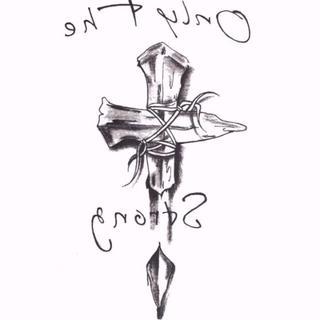 ❤お値引中❤タトゥーシール 十字架 クロス リアル 刺青 ボディステッカー(アクセサリー)