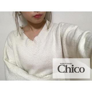 フーズフーチコ(who's who Chico)のwho's who Chico 太Vネックニットプルオーバー(ニット/セーター)