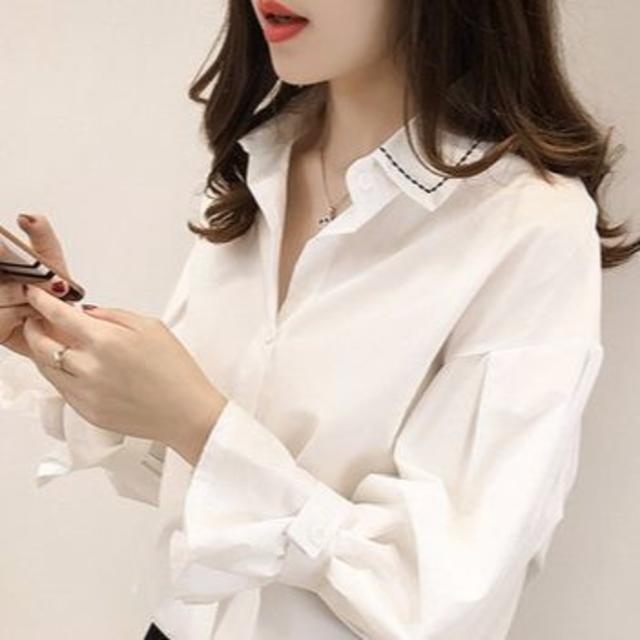 ブラウスホーン シャツ 長袖 ホワイトXL レディースのトップス(シャツ/ブラウス(長袖/七分))の商品写真