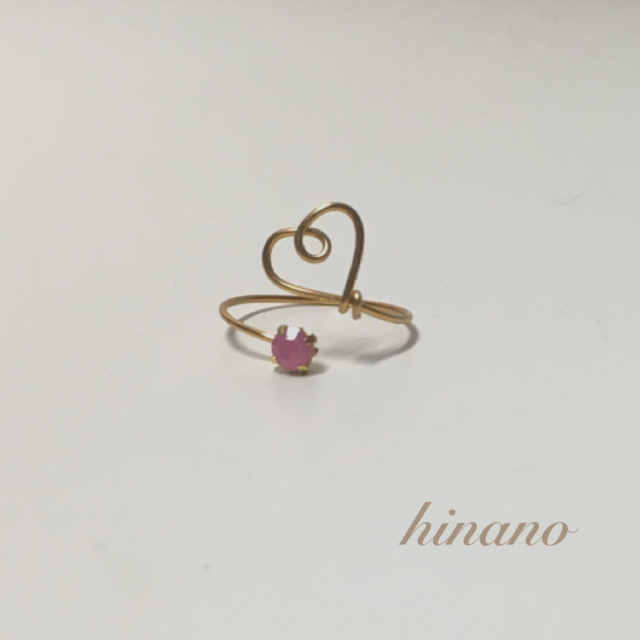 ハートリング三点セット*ピンク ハンドメイドのアクセサリー(リング)の商品写真