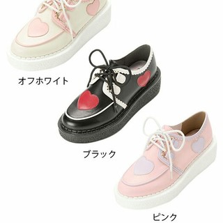ユメテンボウ(夢展望)のスカラップ×ハートラバーソール ピンク(ローファー/革靴)
