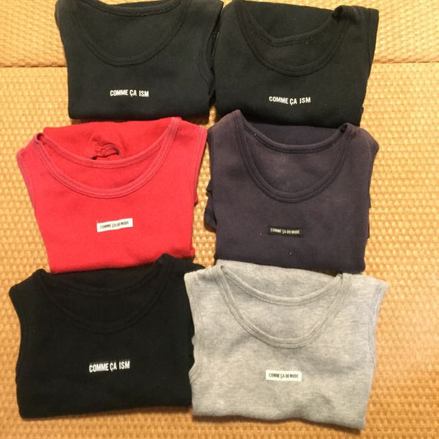 COMME CA ISM(コムサイズム)のノースリーブショートオール 6枚セット 80 コムサイズム モード キッズ/ベビー/マタニティのベビー服(~85cm)(カバーオール)の商品写真