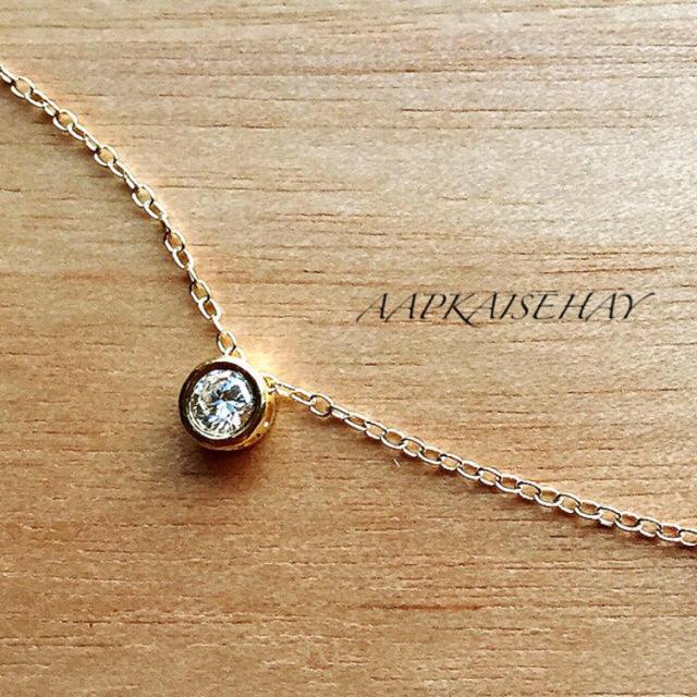 ハイグレードCZダイヤ一粒華奢ネックレス☆K14gf レディースのアクセサリー(ネックレス)の商品写真
