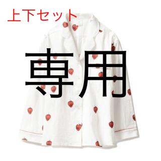 ジェラートピケ(gelato pique)のジェラートピケ いちご柄 白 パジャマ セット ショートパンツ(パジャマ)