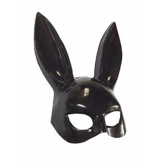 ☆即納☆ うさ耳 半面 マスク コスプレ バニーガール 仮装 黒色 ハロウィン(小道具)