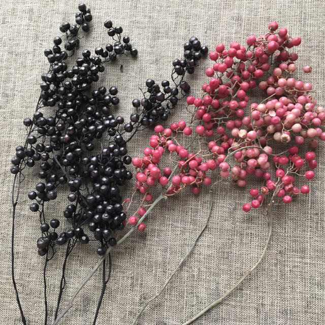 37番✳︎ペッパーベリー30gセット・ピンク&ブラック☆送料無料 ハンドメイドの素材/材料(各種パーツ)の商品写真