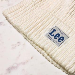 リー(Lee)のLee ニット帽 白(ニット帽/ビーニー)