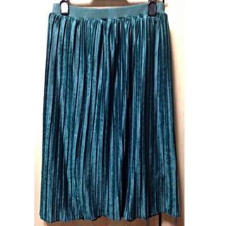 プーラフリーム(pour la frime)のVIS ベロア素材プリーツスカート(ひざ丈スカート)