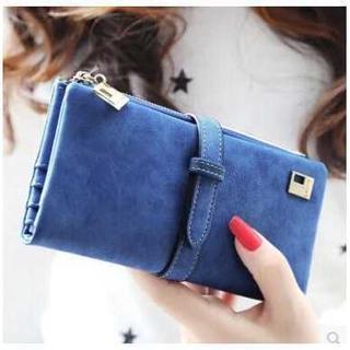 レディース 長財布 二つ折り スエード手触り 手帳型 ブルー(財布)