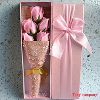 ソープフラワーGIFTBOX 薔薇5本セット(ピンク)(ドライフラワー)