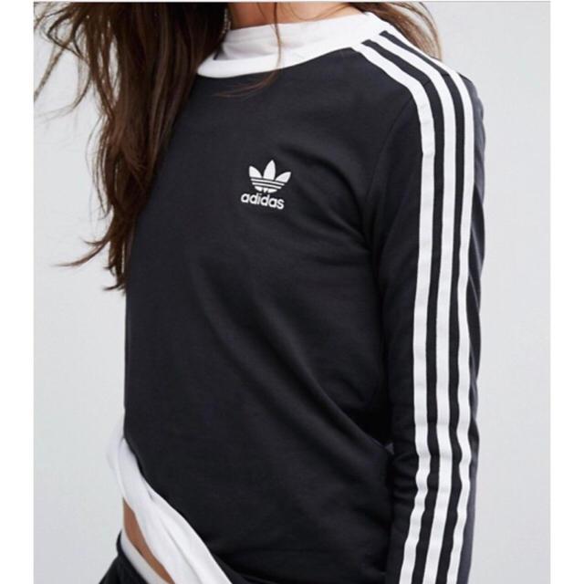 adidas(アディダス)の【 XLサイズ】adidas 新品タグ付  ストライプ ロングTシャツ ブラック レディースのトップス(Tシャツ(長袖/七分))の商品写真