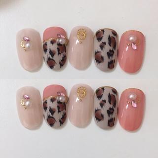 ピンク×豹柄 デザインチップ