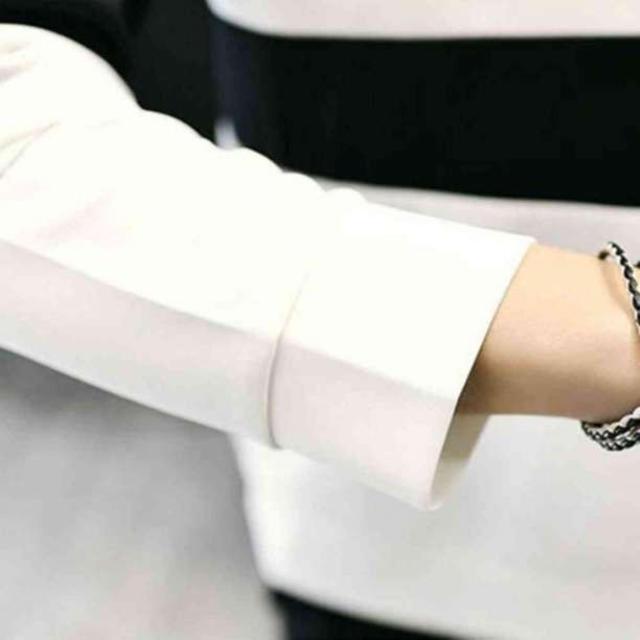 〇メンズ 長袖 ボーダー トレーナー 秋冬 ホワイト XL メンズのトップス(スウェット)の商品写真