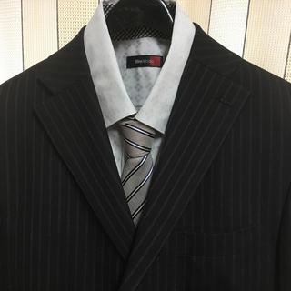 NICOLE ムッシュニコル スーツ 黒 46 ストライプ シャツ ネクタイ付き