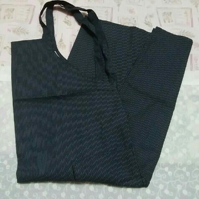 新品 エプロン 綿100%  グレー ストライプ M~L レディースのレディース その他(その他)の商品写真