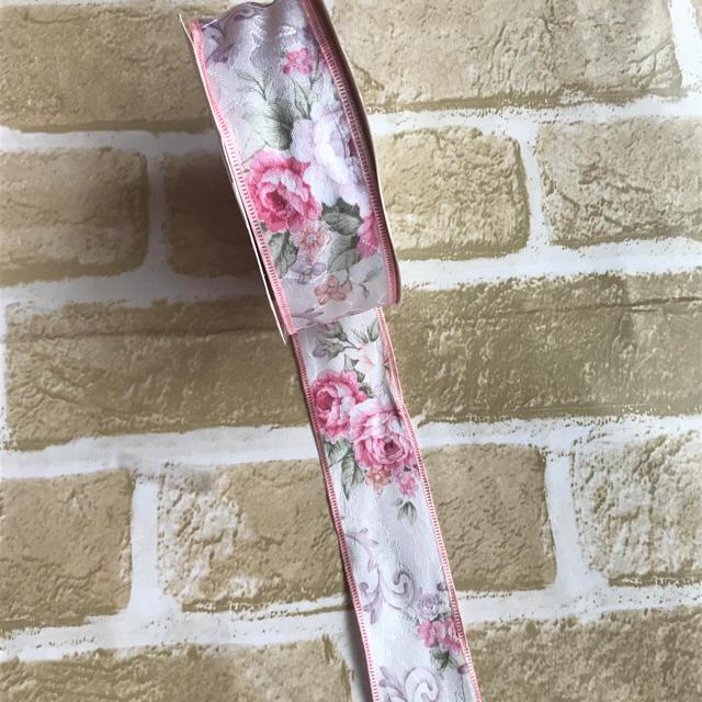 40mm幅生地リボン♡花柄ピンク ハンドメイドの素材/材料(その他)の商品写真