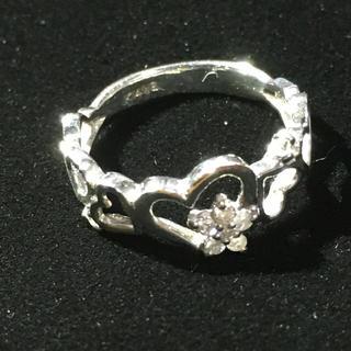 K14WG ハートモチーフに星模様のダイヤ付きリング(リング(指輪))