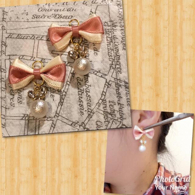 ピンク×ホワイト バイカラーリボンとうさぎパール ノンホールピアス ハンドメイドのアクセサリー(イヤリング)の商品写真