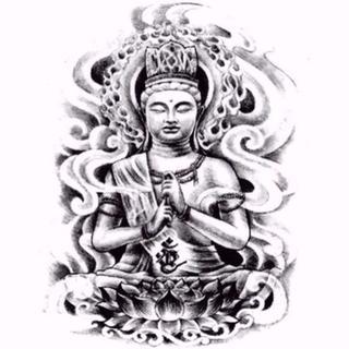 タトゥーシール 仏像 蓮 花❤ボディアート ステッカー 刺青(アクセサリー)