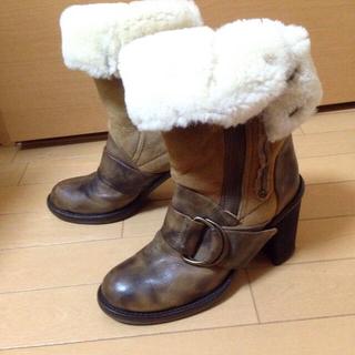 オゥバニスター(AU BANNISTER)のMANA ムートン スエード ブーツ36サイズ(ブーツ)