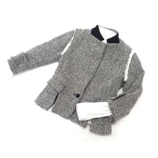 サカイ(sacai)の美品◆sacai ドッキングノーカラー総柄ジャケット ベスト フレアブラウス(ノーカラージャケット)