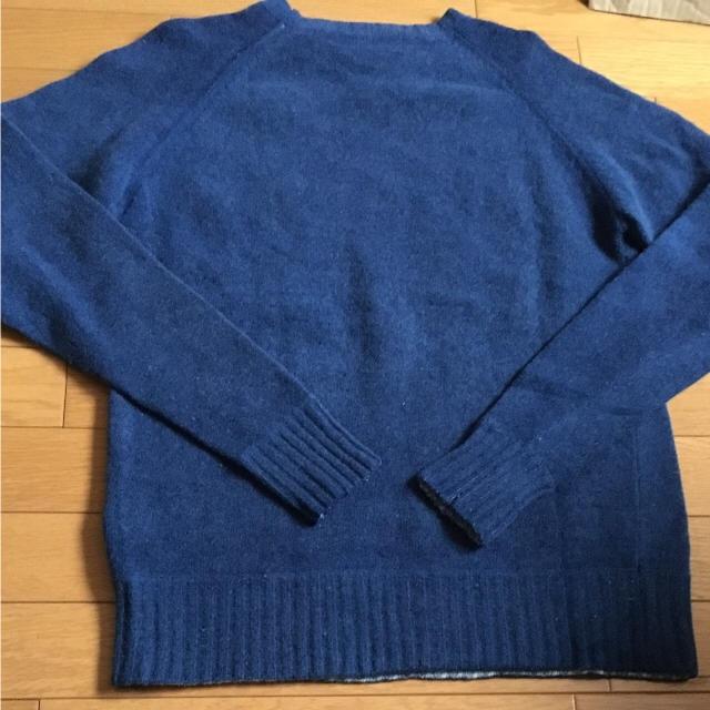 ブルー系★ラグランスリーブ 丸首 スクール ニット デニム メンズ L メンズのトップス(ニット/セーター)の商品写真