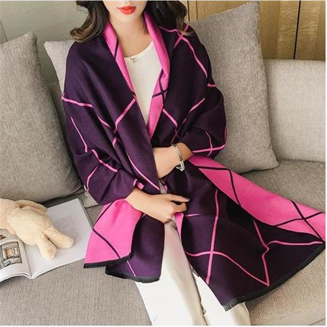 カシミヤ素材 マフラー ♪(紫×ディープピンク) レディースのファッション小物(マフラー/ショール)の商品写真