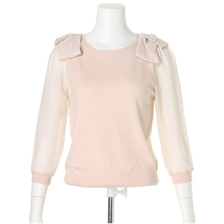 リランドチュール(Rirandture)のリランドチュール 新品 肩リボンシースルーニット(ニット/セーター)