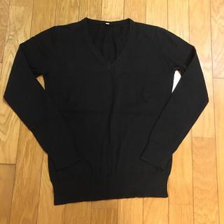 ムジルシリョウヒン(MUJI (無印良品))の無印♡シンプル♡Vネックニット♡黒♡S(ニット/セーター)