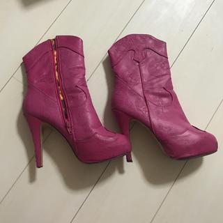 25cm〜25.5cm☆インポート☆ピンク☆ショートブーツ(ブーツ)