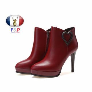 アーモンドトゥハラコレザー厚底2.5cmキューピッドハート付可愛いブーツ全3色(ブーツ)